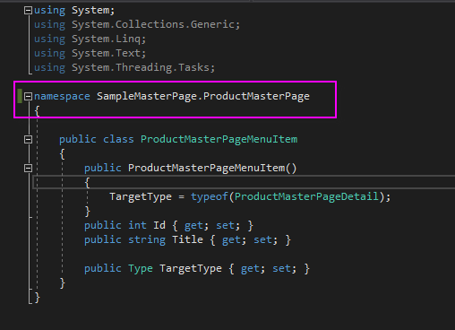 4 namespace is different in model class