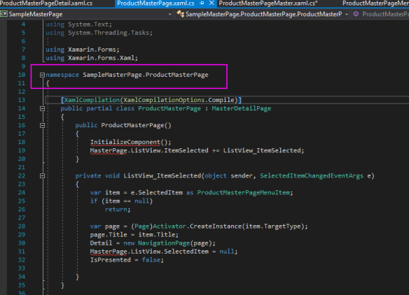 5 namespace is different in productmp